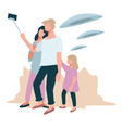 people taking selfie with flying saucers and ufo vector image vector image