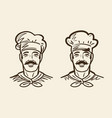 portrait of happy chef cook sketch vintage vector image