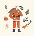 santa claus in red traditional costume holding vector image