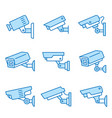 security camera flat line icon set vector image vector image