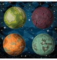 set cosmic planets in outer space vector image vector image
