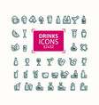 set icons drinks vector image