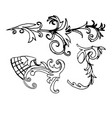 set sketch of a baroque ornament vector image