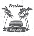 Surf camp concept Summer surfing retro badge vector image vector image