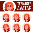 teen girl avatar set face emotions vector image