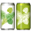 two aluminum can design with green leaves vector image vector image