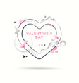 valentines day card with flat heart and 3d shape vector image