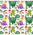 various types of dinosaur seamless pattern vector image