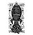 vintage grunge label with rocket vector image vector image