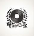 vinyl record retro vintage laurel wreath badge vector image vector image