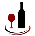 wine bottle and glass with decorative line vector image