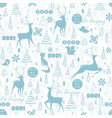 winter seamless pattern with deer fox squirrel vector image vector image