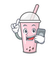 with phone raspberry bubble tea character cartoon vector image vector image