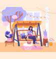 young woman relaxing in garden swing vector image vector image