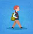 boy pupil walking to school schoolboy small vector image
