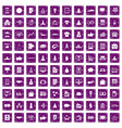 100 startup icons set grunge purple vector image vector image
