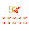 50 year anniversary gold red ribbon set template