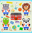 back to school seamless background with funny vector image