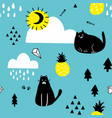 black cats in the blue sky seamless wallpaper vector image vector image