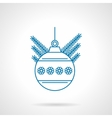 Blue flat line ball with snowflakes icon vector image vector image