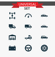 car icons set collection of lorry repairing car vector image vector image
