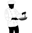 chef preparing food in frying pan vector image