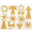 Christmas straw decorations vector image vector image