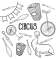 Circus performance decorative icons set vector image
