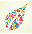 Colorful flowers leaf shape vector image vector image