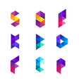 colorful geometry alphabet letter logo design vector image