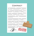 Contract with stamp rejected vector image