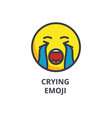 crying emoji line icon sign vector image