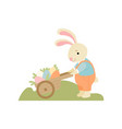 cute bunny pushing wooden cart full of decorated vector image