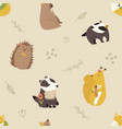 cute seamless pattern with funny forest animals vector image