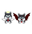 devil dog with horns and bat wings and happy dog vector image