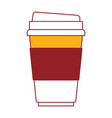 disposable cup in color sections silhouette vector image