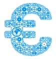 Euro sign made of gears vector image
