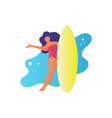 flat friendly woman holding a surfboard and say vector image vector image