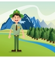 Forest ranger with landscape of pine trees and vector image vector image