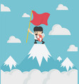 happy businessman holding success flag standing vector image vector image