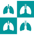 human lungs flat icon set vector image