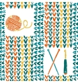 Knitted pattern with needles crochet and yarn vector image vector image