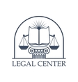 Legal Center Scales of Justice law open book icon vector image vector image