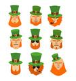 Leprechaun set head Funny and serious facial vector image