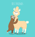 llama and sloth alpaca with sloth lazy bear baby vector image