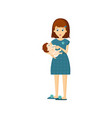 mother woman feeds baby delicious eating in the vector image