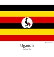 National flag of Uganda with correct proportions vector image