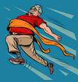 old man grandpa runs finish line win vector image