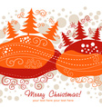 Ornate christmas card with xmas trees vector | Price: 1 Credit (USD $1)