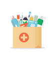 paper bag with medicines drugs pills and bottles vector image vector image